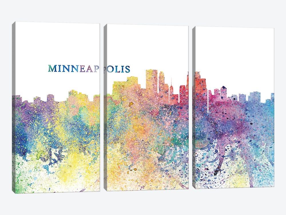 Minneapolis Minnesota Skyline Silhouette Impressionistic Splash by Markus & Martina Bleichner 3-piece Canvas Artwork