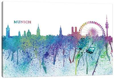 Munich Germany Skyline Silhouette Impressionistic Splash Canvas Art Print