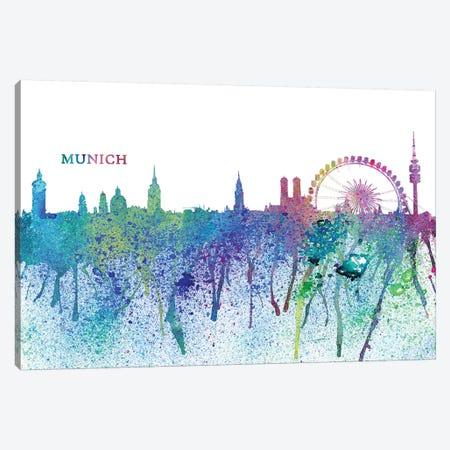 Munich Germany Skyline Silhouette Impressionistic Splash Canvas Print #MMB167} by Markus & Martina Bleichner Art Print