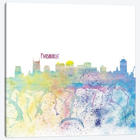 Nashville Tennessee Skyline Silhouette Impressionistic Splash Canvas Print #MMB168} by Markus & Martina Bleichner Canvas Artwork