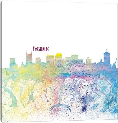 Nashville Tennessee Skyline Silhouette Impressionistic Splash Canvas Art Print