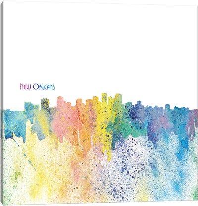 New Orleans Skyline Silhouette Impressionistic Splash Canvas Art Print