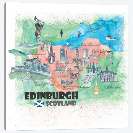 Edinburgh, Scotland Travel Poster Canvas Print #MMB16} by Markus & Martina Bleichner Art Print