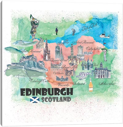 Edinburgh, Scotland Travel Poster Canvas Art Print