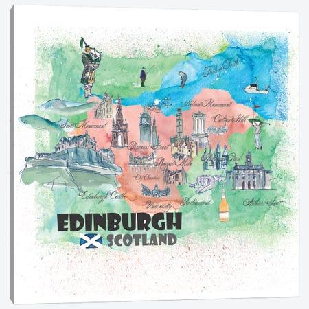 Edinburgh, Scotland Travel Poster Canvas Print #MMB16} by Markus & Martina Bleichner Art Print