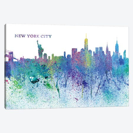 New York City Skyline Silhouette Impressionistic Splash Canvas Print #MMB170} by Markus & Martina Bleichner Art Print