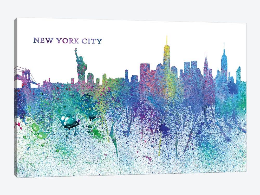 New York City Skyline Silhouette Impressionistic Splash by Markus & Martina Bleichner 1-piece Canvas Art Print