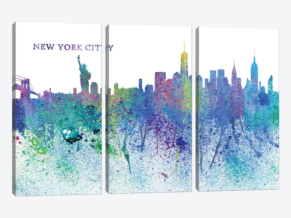 New York City Skyline Silhouette Impressionistic Splash by Markus & Martina Bleichner 3-piece Canvas Art Print