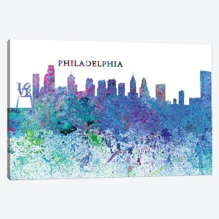 Philadelphia Pennsylvania Skyline Silhouette Impressionistic Splash Canvas Print #MMB171} by Markus & Martina Bleichner Canvas Art Print