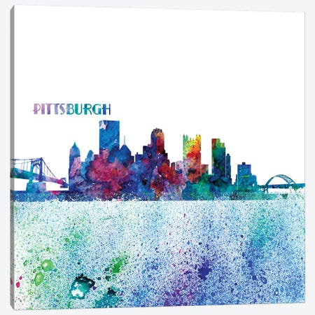 Pittsburgh Pennsylvania Skyline Silhouette Impressionistic Splash Canvas Print #MMB173} by Markus & Martina Bleichner Art Print
