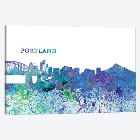 Portland Oregon Skyline Silhouette Impressionistic Splash Canvas Print #MMB174} by Markus & Martina Bleichner Canvas Art