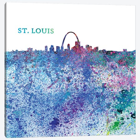 St Louis Missouri Skyline Silhouette Impressionistic Splash Canvas Print #MMB175} by Markus & Martina Bleichner Canvas Wall Art