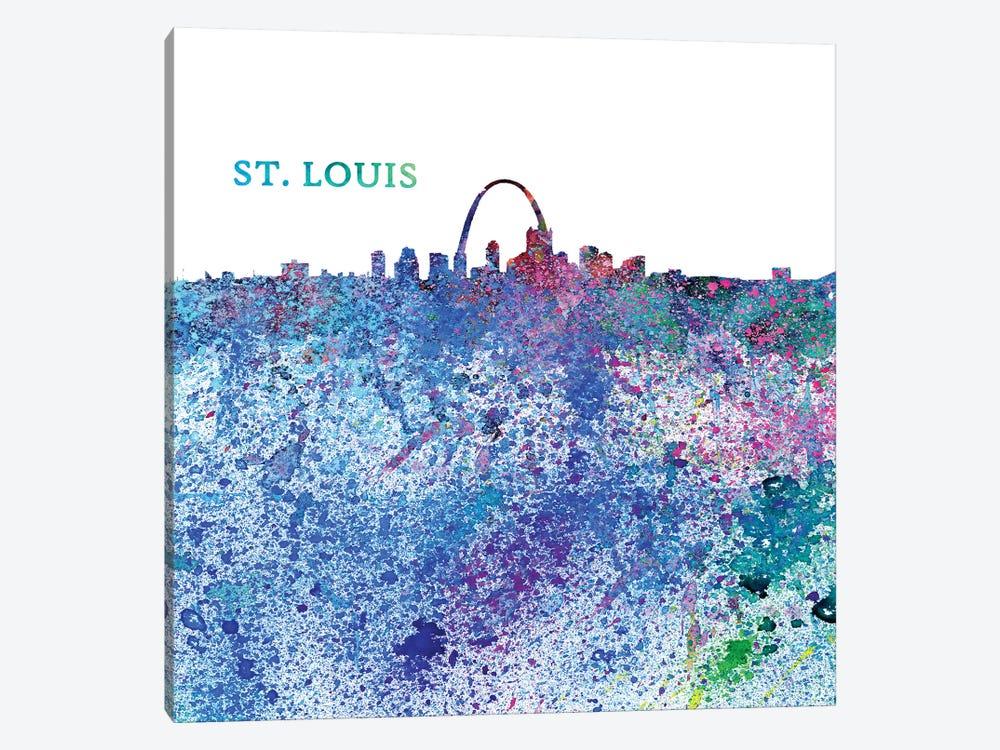St Louis Missouri Skyline Silhouette Impressionistic Splash by Markus & Martina Bleichner 1-piece Canvas Wall Art
