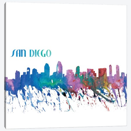 San Diego California Skyline Silhouette Impressionistic Splash Canvas Print #MMB176} by Markus & Martina Bleichner Canvas Artwork