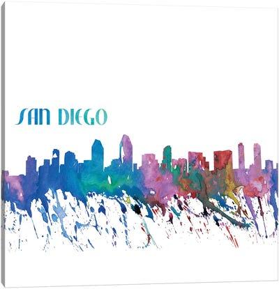 San Diego California Skyline Silhouette Impressionistic Splash Canvas Art Print