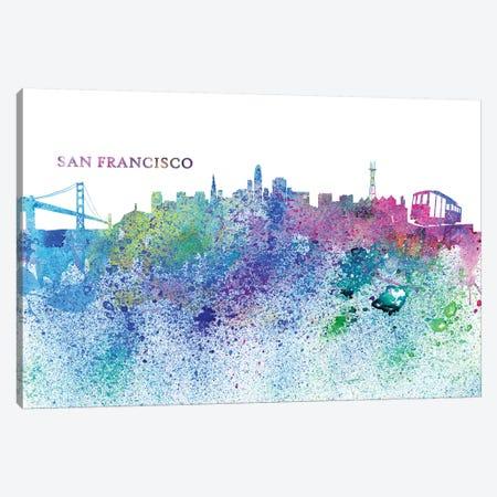 San Francisco California Skyline Silhouette Impressionistic Splash Canvas Print #MMB177} by Markus & Martina Bleichner Canvas Artwork