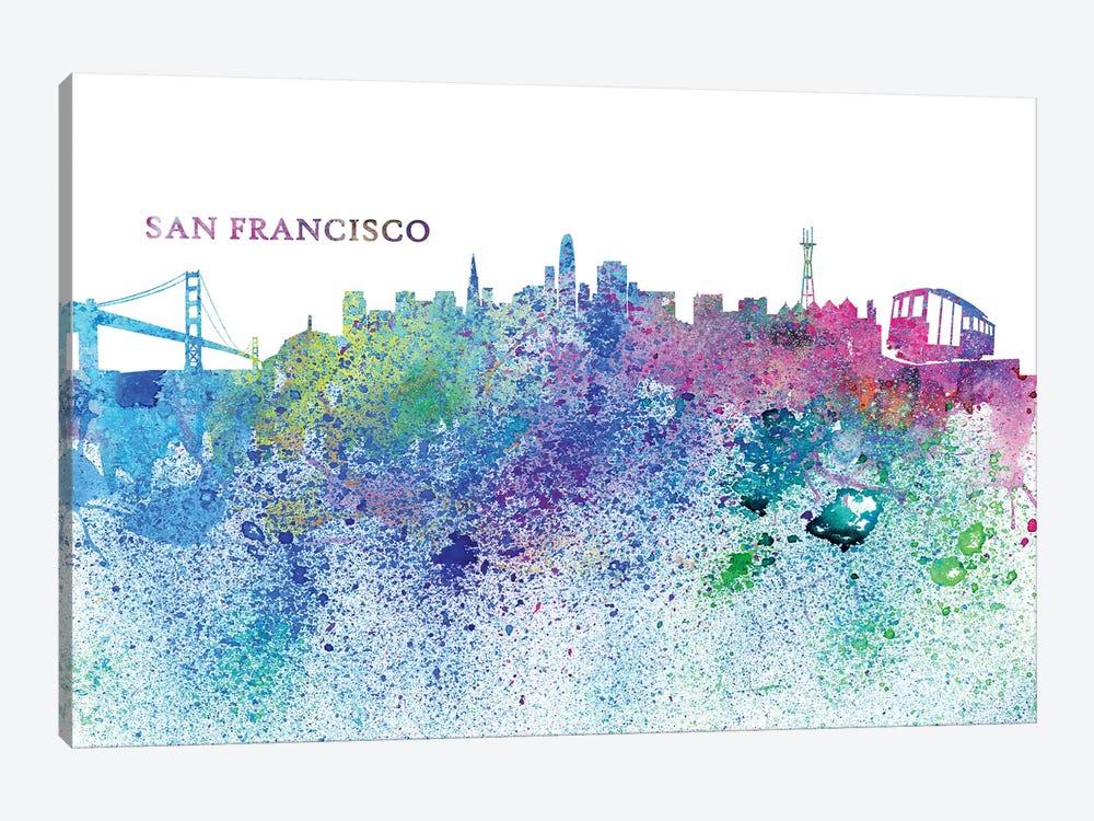 San Francisco California Skyline Silhouette Impressionistic Splash by Markus & Martina Bleichner 1-piece Canvas Artwork