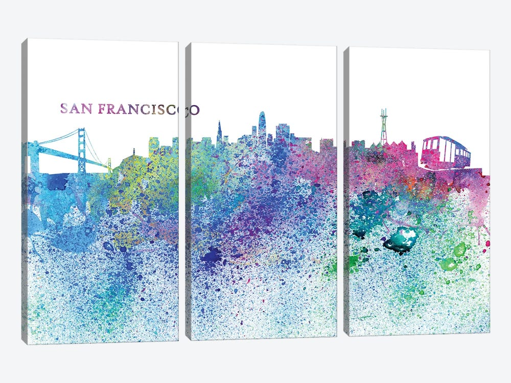 San Francisco California Skyline Silhouette Impressionistic Splash by Markus & Martina Bleichner 3-piece Canvas Wall Art