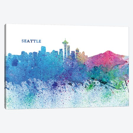 Seattle Washington Skyline Silhouette Impressionistic Splash Canvas Print #MMB179} by Markus & Martina Bleichner Canvas Art Print