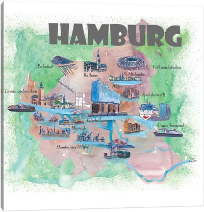 Hamburg, Germany Travel Poster Canvas Art Print