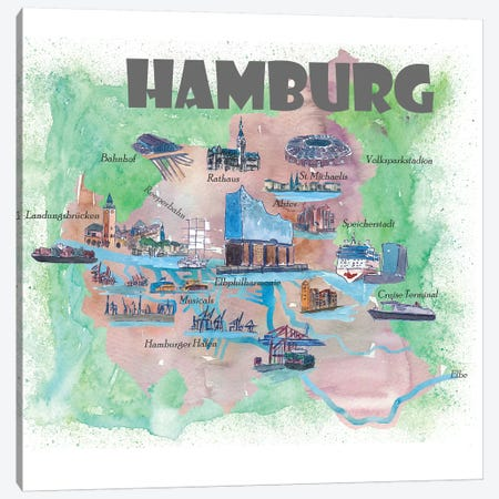 Hamburg, Germany Travel Poster 3-Piece Canvas #MMB17} by Markus & Martina Bleichner Canvas Art Print