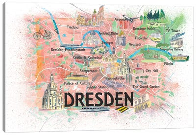 Dresden Saxony Germany Illustrated Map With Main Roads Landmarks And Highlights Canvas Art Print