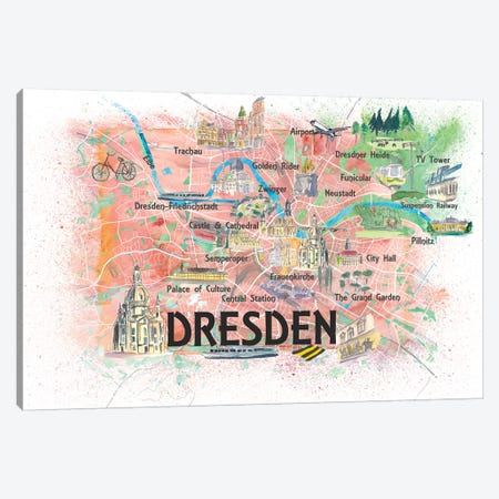 Dresden Saxony Germany Illustrated Map With Main Roads Landmarks And Highlights Canvas Print #MMB181} by Markus & Martina Bleichner Canvas Art