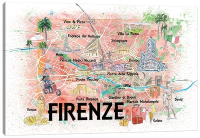 Florence Italy Illustrated Map With Roads Landmarks And Highlights Canvas Art Print