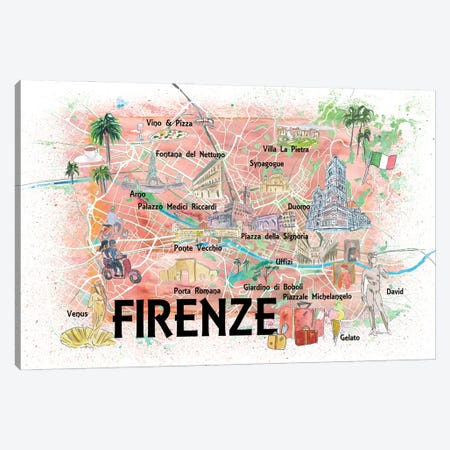 Florence Italy Illustrated Map With Roads Landmarks And Highlights Canvas Print #MMB183} by Markus & Martina Bleichner Canvas Art