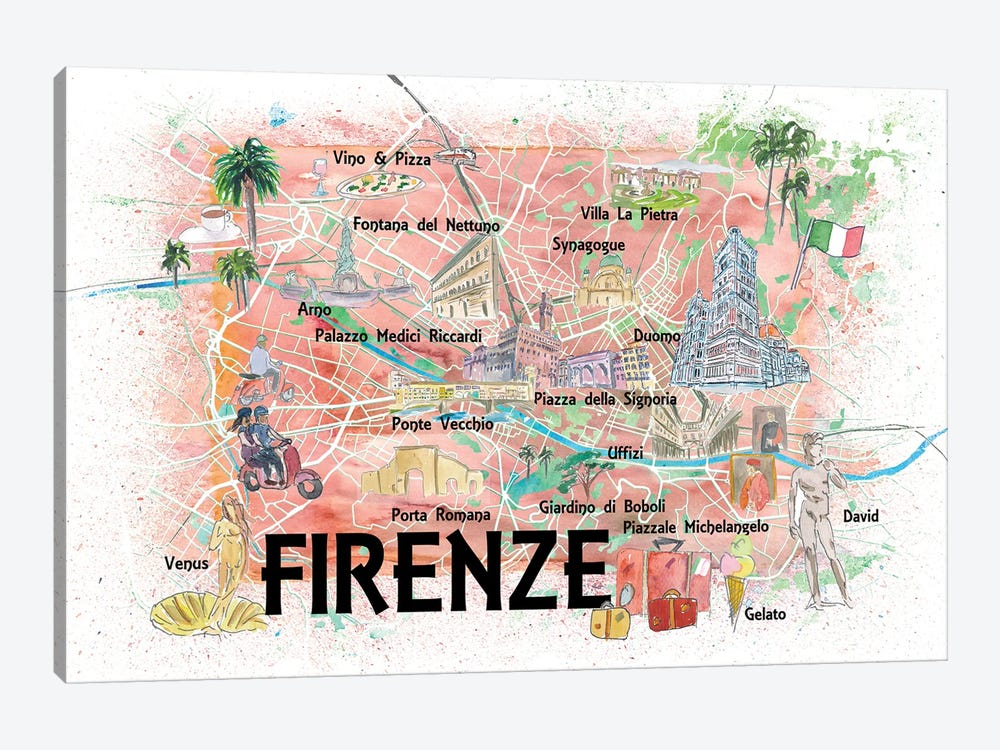 Florence Italy Illustrated Map With Roads Landmarks And Highlights by Markus & Martina Bleichner 1-piece Canvas Print