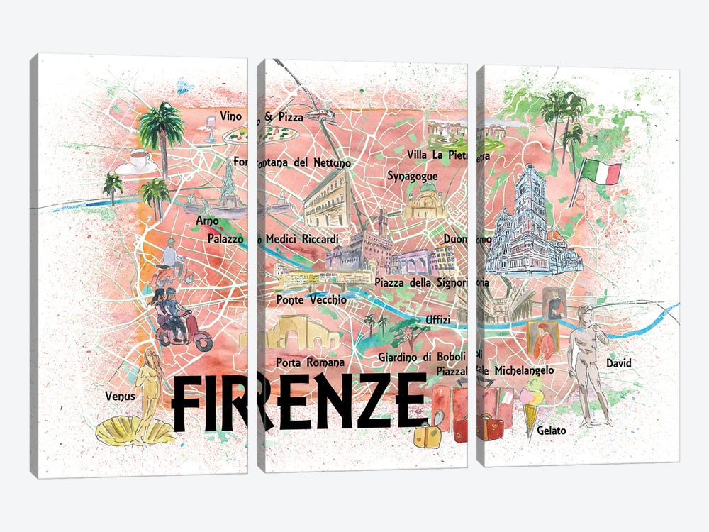 Florence Italy Illustrated Map With Roads Landmarks And Highlights by Markus & Martina Bleichner 3-piece Canvas Art Print