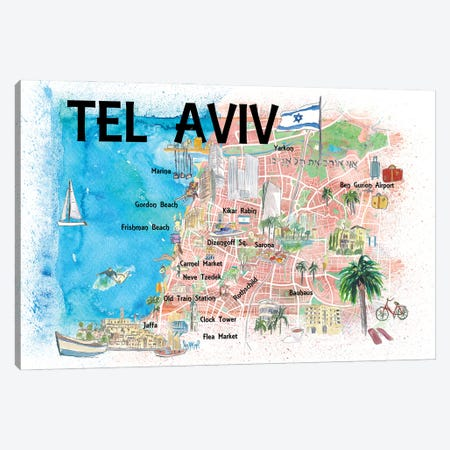Tel Aviv Israel Illustrated Map With Roads Landmarks And Highlights Canvas Print #MMB184} by Markus & Martina Bleichner Art Print