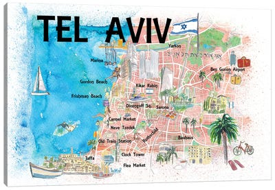 Tel Aviv Israel Illustrated Map With Roads Landmarks And Highlights Canvas Art Print