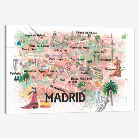 Madrid Spain Illustrated Map With Landmarks And Highlights 3-Piece Canvas #MMB185} by Markus & Martina Bleichner Art Print