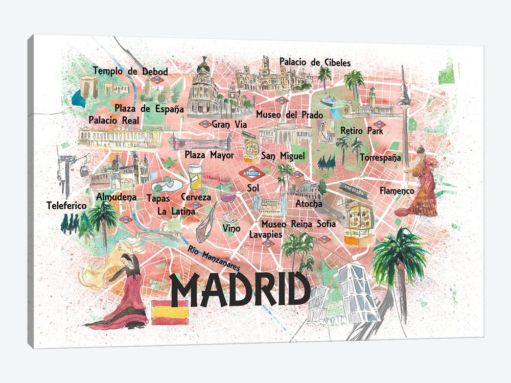 Madrid Spain Illustrated Map With Landmarks And Highlights by Markus & Martina Bleichner 1-piece Art Print