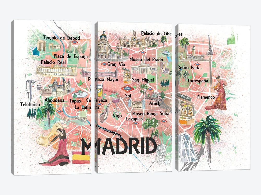 Madrid Spain Illustrated Map With Landmarks And Highlights by Markus & Martina Bleichner 3-piece Canvas Print