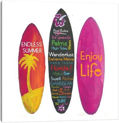 Surfboard Philosophy - Enjoy Life, Travel And Surf Canvas Art Print