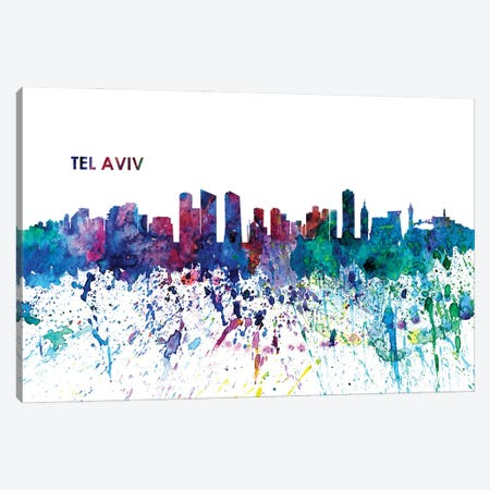 Tel Aviv Israel Skyline Impressionistic Splash 3-Piece Canvas #MMB187} by Markus & Martina Bleichner Canvas Print