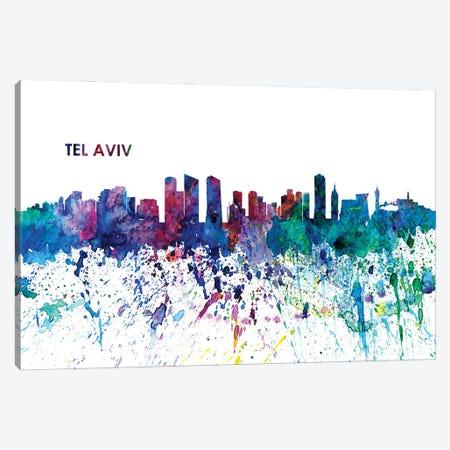 Tel Aviv Israel Skyline Impressionistic Splash 3-Piece Canvas #MMB187} by Markus & Martina Bleichner Canvas Print