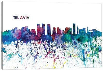 Tel Aviv Israel Skyline Impressionistic Splash Canvas Art Print