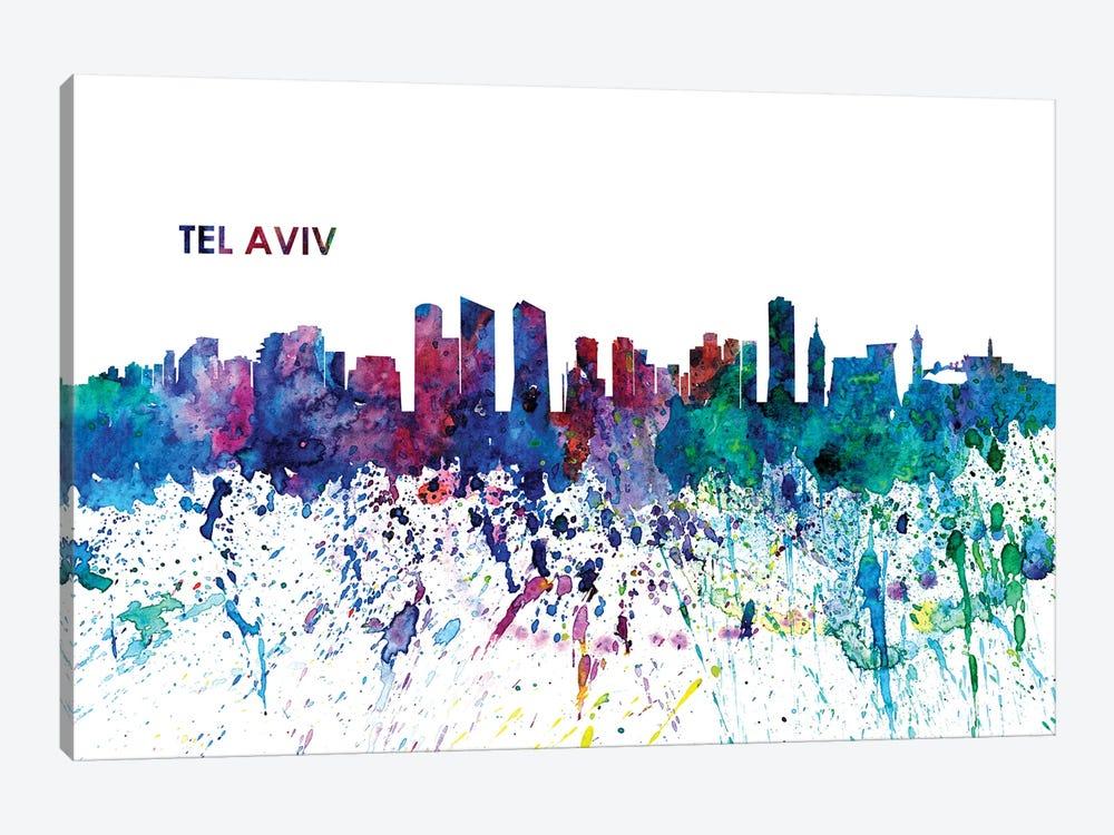 Tel Aviv Israel Skyline Impressionistic Splash by Markus & Martina Bleichner 1-piece Canvas Print