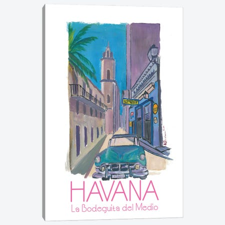 Havana Cuba La Bodeguita Del Medio Retro Poster Canvas Print #MMB188} by Markus & Martina Bleichner Canvas Wall Art