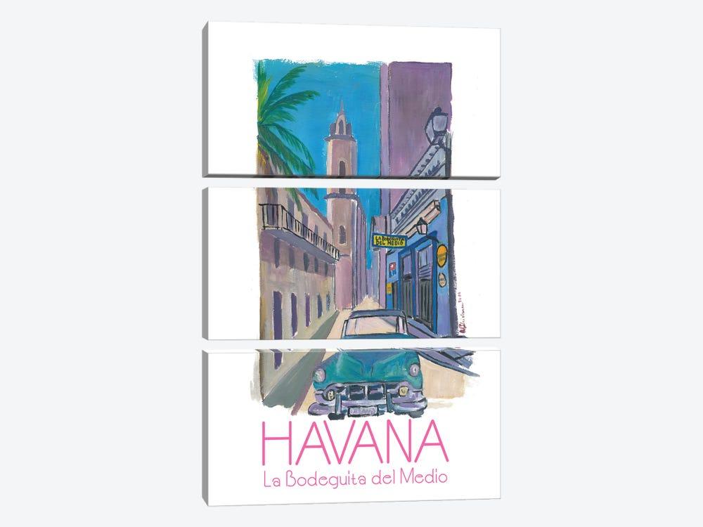 Havana Cuba La Bodeguita Del Medio Retro Poster by Markus & Martina Bleichner 3-piece Canvas Art