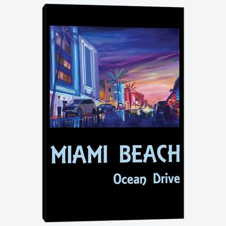 Miami Beach Ocean Drive Poster Canvas Print #MMB189} by Markus & Martina Bleichner Canvas Art