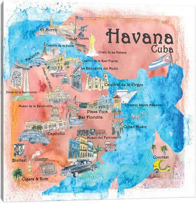 Havana, Cuba Illustrated Travel Poster Canvas Art Print