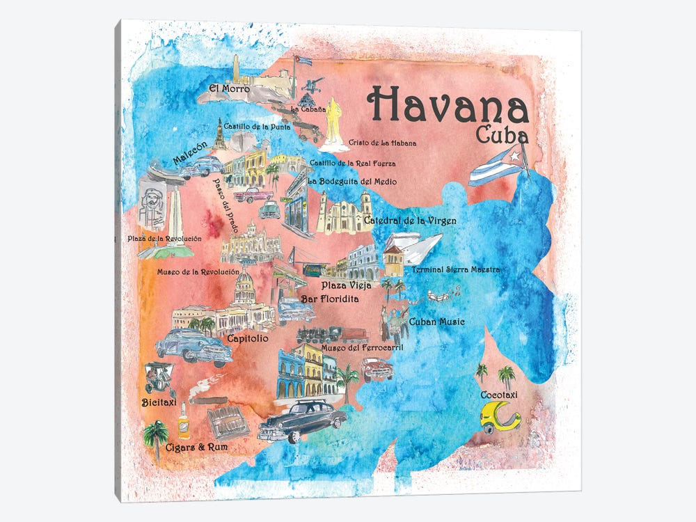 photo regarding Printable Map of Havana identify Havana, Cuba Illustrated Drive P Markus Martina Bleichner iCanvas