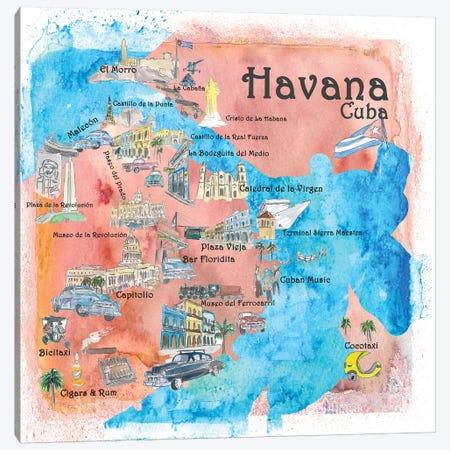 Havana, Cuba Illustrated Travel Poster Canvas Print #MMB18} by Markus & Martina Bleichner Canvas Wall Art