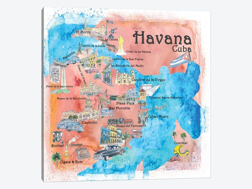 Havana, Cuba Illustrated Travel Poster by Markus & Martina Bleichner 1-piece Canvas Art