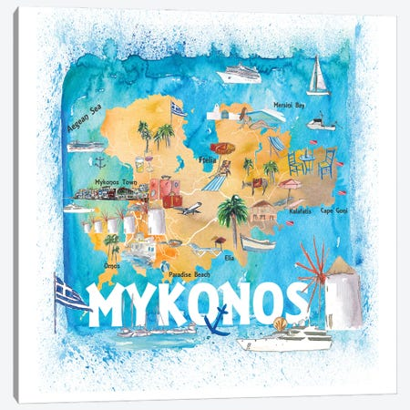 Mykonos Greece Illustrated Map With Main Roads Landmarks And Highlights Canvas Print #MMB190} by Markus & Martina Bleichner Canvas Print