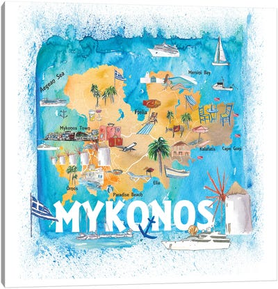 Mykonos Greece Illustrated Map With Main Roads Landmarks And Highlights Canvas Art Print